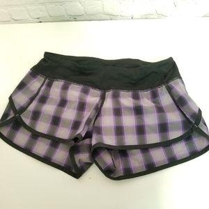 Lululemon purple and black plaid speed shorts